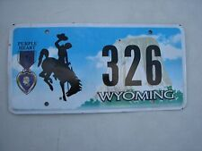 "WYOMING  PURPLE HEART  LOW NO.  LICENSE PLATE "" 326 "" WY COMBAT WOUNDED VETERAN"