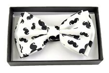 New Tuxedo PreTied White Mustache  Bow Tie Satin Adjustable