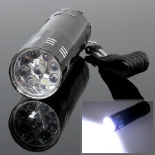 9 LED Mini Flash Ultra Bright light Torch Flashlight 3 x AAA Lamp Outdoor Black