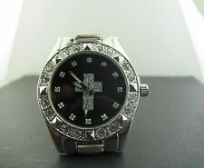 CROSS ICEDOUT SIMULATED DIAMONDS SILVER BLACK FACE WHITE LOGO WATCH