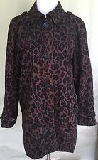 LONDON FOG Trench Coat Large Leopard Print Marion Outerwear Lined L Washable