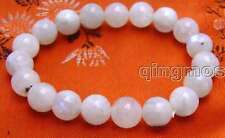 "SALE Big 10mm Round white Natural High Quality Moonstone 7.5"" bracelet-bra264"