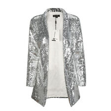 Women Fashion Long Sleeve Sequined Blazer Coats Lady Cardigan Outwears Jacket S