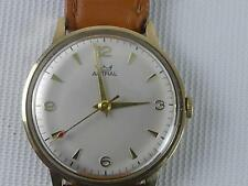 (ref165CP) Vintage British Rail Long Service 9ct Gold Astral Wristwatch Working