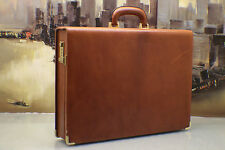 TUMI Italy Vintage Leather Hard Case Briefcase Doctor Lawyer Bag Mens