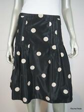$795 AKRIS 6 S Black Cream Polka Dot Jacquard Pleated Full Skirt F38 D 36 EUC