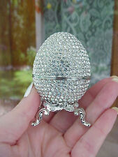 Collectible Decorated Egg Trinket/Engagement Ring Gift Presentation Box Silver