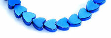 STRAND OF ELECTRIC BLUE HEMATITE FLAT HEART BEADS, 6 MM, GEMSTONE