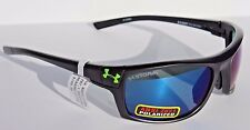 UNDER ARMOUR Keepz POLARIZED Sunglasses Satin Black/Blue Storm Sport NEW $160