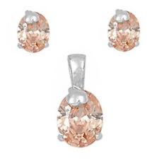 HOLIDAY ITEM CHAMPAGNE CZ .925 Sterling Silver Earring & Pendant Gift Set