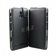 Flip Black Leather Case Pouch + LCD Film For Sony Xperia P LT22i Nyphon j