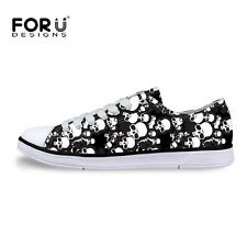 White Skull Black Low Tops Trainer Sneakers Women Flatform Shoes Summer Pumps