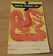 "VTG 1940's Memo Sheet~""AMERICAN PRESIDENT LINES""~Steam Ship~NICE Dragon ART~"