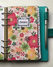 Filofax Personal Planner - Bright Flower Monthly Dividers x12 - Fully Laminated