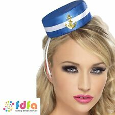 BLUE & WHITE TRADITIONAL SAILOR GIRL PILL BOX HAT ladies fancy dress costume
