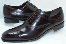 Salvatore Ferragamo Men's Shoes Caesy Lace Up Oxfords Size 11.5 Dress Brandy NIB