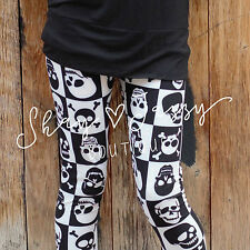 Checkered Black and White Skull Print Womens Skinny Pants Leggings One Size 2-12