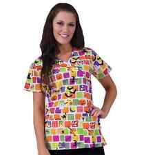 Medical Uniform Scrub Top Halloween Print Mock Style (XS)