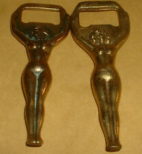2 VINTAGE BRASS NAKED LADY BOTTLE OPENERS BOTH DIFFERENT