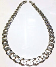"HEAVY BIKER GANGSTER STERLING SILVER CUBAN CURB LINK CHAIN NECKLACE 21.5"" 12.5mm"