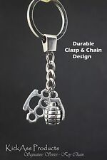 Brass Knuckles & Grenade Keychain - KickAss Products - Cancer Fighter Military