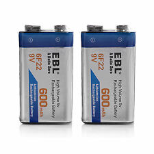 EBL 2 PACKS 9V 600mAh Rechargeable Lithium Ion Li-ion 9 VOLT Batteries 6F22