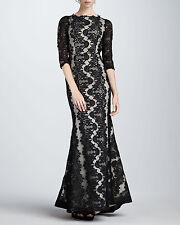 NEW Alice + Olivia 8 M Jae Lace Open Back Gown Formal Black Tie Dress $1,298