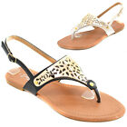 Ladies Summer Toe Post Sandals Shoes Size 3 4 5 6 7 8 Beach Cleopatra Black