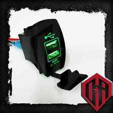 OFFROAD ARSENAL 5V 3.1A DUAL USB POWER PORT CHARGER PHONE ROCKER SWITCH GREEN