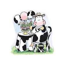 PENNY BLACK RUBBER STAMPS COW GRASS CAKE PARTY STAMP