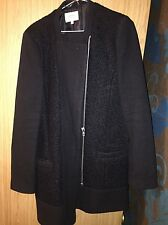 Black wool blend boyfriend zipped Coat / long Jacket.