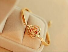 Fashion Women Crystal Flower Bangle Gold Filled Cuff Chain Bracelet Jewelry,HOT