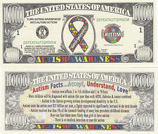 10 Autism Awareness Novelty Money Bills # 332