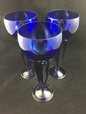 "Set of 3 CAROLE STUPELL Czech 10"" Crystal Colbalt Blue Red Wine Glasses"