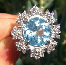 6.69ct Natural Earth Mined Top Blue Topaz Sterling Silver white sapphire Ring