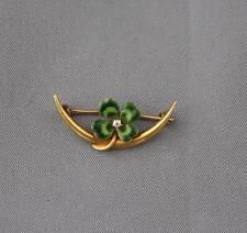 Antique 14K Gold Crescent Moon Enamel 4 Leaf Clover Diamond Pin Brooch Krementz