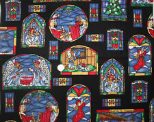 Stained Glass Christmas Cotton Fabric 1 Yard