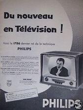 PUBLICITÉ 1958 PHILIPS DU NOUVEAU EN TÉLÉVISION - FERNAND RAYNAUD - ADVERTISING