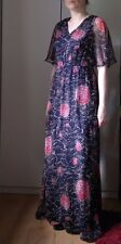 Vintage Red Navy Blue Floral Dress Maxi Gown Chiffon Butterfly 30/70s size 10 38