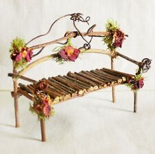 Fairy House Miniature Doll TWIG Moss Roses Furniture GARDEN BENCH WITH ARMS