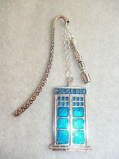 Handmade Doctor Who Tardis Sonic Screwdriver Silver Bookmark Sci-Fi Blue Enamel