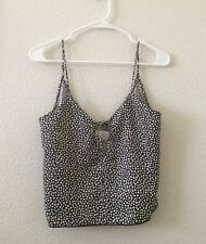 New! Brandy Melville Black White Floral Silky  Tie front v neck Ace tank top NWT
