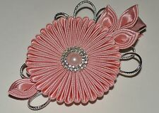 Handmade Girl's/Ladies Satin Flower Hair Clip, Kanzashi, Dusky Pink, Wedding