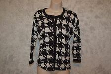 AUGUST SILK Black White Silver Sparkle Jacquard Cardigan Sweater Top SZ M  #185