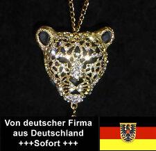 Leopard-Anhänger, gold mit schwarz, 3-dimensional mit Kette