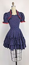 Vintage 70s Dress Prairie Boho Floral Peasant Lace Ruffle Tiered Western XS