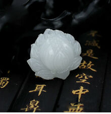 Natural Jade Lotus Pendant Chinese Hand-Carved Fashion Delicate Lucky Amulet 1PC