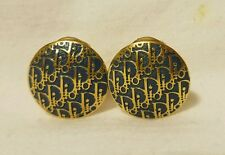 VINTAGE SIGNED CHR. DIOR. CHRISTIAN DIOR CLIP ON GOLD TONE DIOR MONOGRAM EARINGS