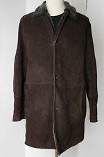 Mens Gimos Menswear Shearling Coat Sheepskin Leather Italy 58 US 48 Brown
