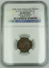 978-1016 England Penny Silver Coin S-1151 Aathelred II NGC XF Dtls Peck Mrkd AKR